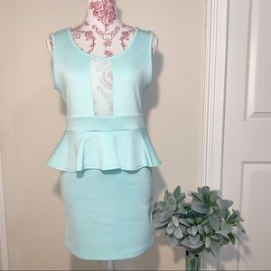 Auditions Fashion | L Teal blue dress with ruffle